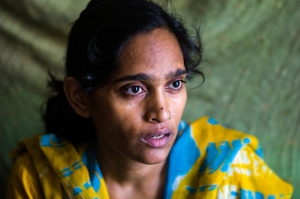 Geetha, married for 3.5 years. Supporting her young daughter and partially disabled mother. Beaten and left by her husband, family, and in-laws.